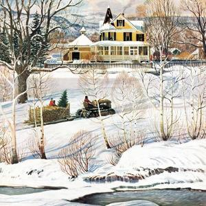 """""""Bringing Home the Tree"""", December 21, 1957 by John Clymer"""