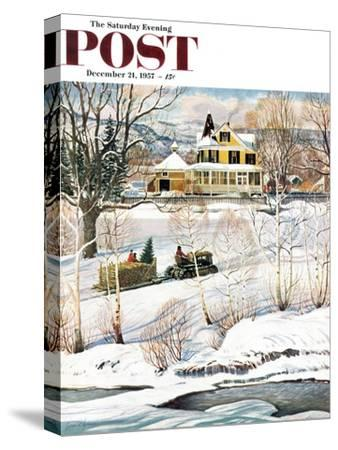 """""""Bringing Home the Tree"""" Saturday Evening Post Cover, December 21, 1957"""
