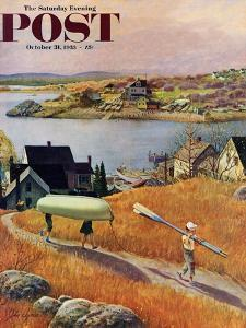 """""""Children with Rowboat"""" Saturday Evening Post Cover, October 31, 1953 by John Clymer"""