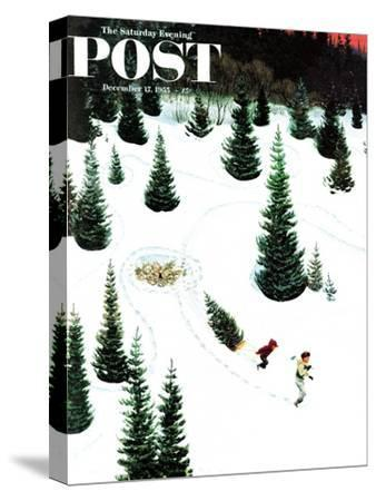 """""""Cutting Down the Tree"""" Saturday Evening Post Cover, December 17, 1955"""