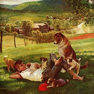"""Dog Days of Summer"", June 25, 1955 by John Clymer"