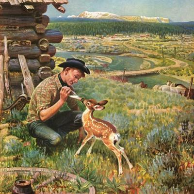 """Feeding Fawn Near Flowering Field"", May 27, 1950"