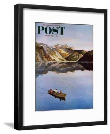 """Fishing on Mountain Lake"" Saturday Evening Post Cover, July 16, 1955"