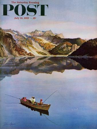 """""""Fishing on Mountain Lake"""" Saturday Evening Post Cover, July 16, 1955"""