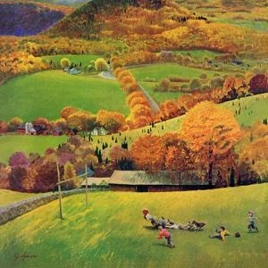 """""""Football in the Country"""", October 8, 1955 by John Clymer"""