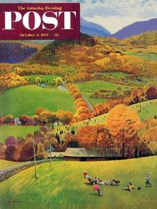 """""""Football in the Country"""" Saturday Evening Post Cover, October 8, 1955 by John Clymer"""