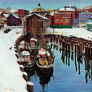 """""""Gloucester Harbor in Winter,"""" February 4, 1961 by John Clymer"""