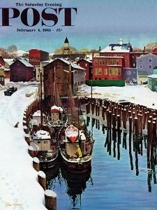 """""""Gloucester Harbor in Winter,"""" Saturday Evening Post Cover, February 4, 1961 by John Clymer"""