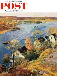 """Gloucester Harbor"" Saturday Evening Post Cover, November 14, 1959 by John Clymer"