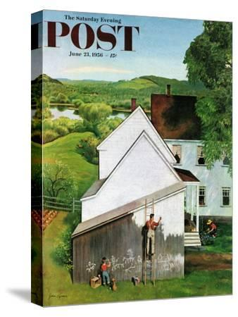 """""""Helping Dad Paint"""" Saturday Evening Post Cover, June 23, 1956"""