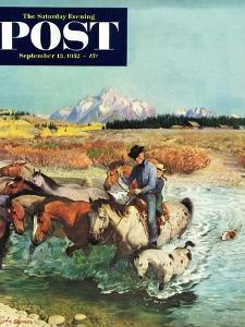 """""""Herding Horses"""" Saturday Evening Post Cover, September 13, 1952 by John Clymer"""