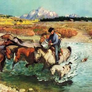 """""""Herding Horses"""", September 13, 1952 by John Clymer"""