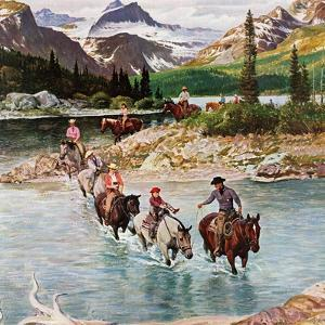 """Horseback Riding in Glacier Park,"" July 30, 1960 by John Clymer"
