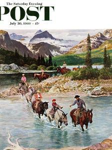 """""""Horseback Riding in Glacier Park,"""" Saturday Evening Post Cover, July 30, 1960 by John Clymer"""