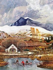 """Ice Hockey on Mountain Pond"", December 13, 1958 by John Clymer"