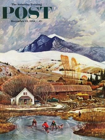 """Ice Hockey on Mountain Pond"" Saturday Evening Post Cover, December 13, 1958"
