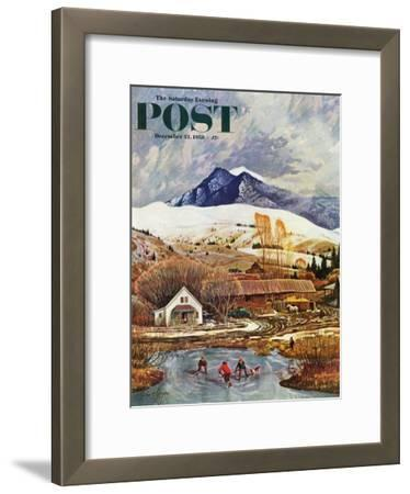 """""""Ice Hockey on Mountain Pond"""" Saturday Evening Post Cover, December 13, 1958"""