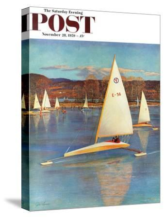 """""""Iceboating in Connecticut"""" Saturday Evening Post Cover, November 28, 1959"""