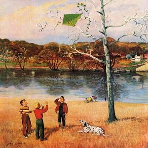 """""""Kite in the Tree"""", March 10, 1956 by John Clymer"""