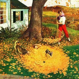 """""""Leaf Pile"""", October 16, 1954 by John Clymer"""