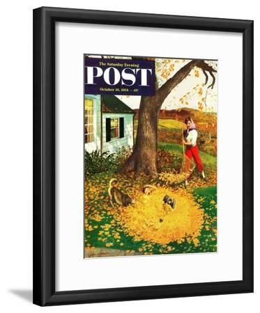 """Leaf Pile"" Saturday Evening Post Cover, October 16, 1954"