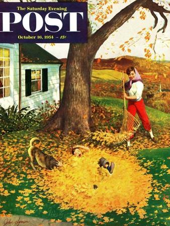 """""""Leaf Pile"""" Saturday Evening Post Cover, October 16, 1954"""
