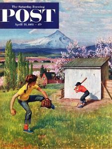 """Oregon Baseball"" Saturday Evening Post Cover, April 21, 1951 by John Clymer"