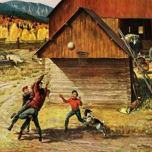 """Ranch Basketball"", November 11, 1950 by John Clymer"
