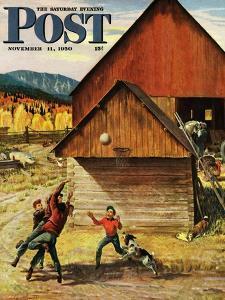 """Ranch Basketball"" Saturday Evening Post Cover, November 11, 1950 by John Clymer"