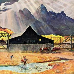 """Ride 'Em Cowboy"", September 21, 1957 by John Clymer"