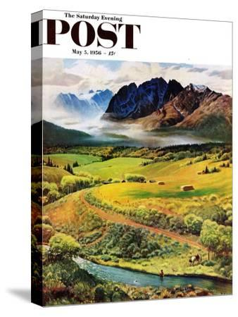 """""""Rocky Mountain Fly Fishing"""" Saturday Evening Post Cover, May 5, 1956"""