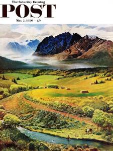 """""""Rocky Mountain Fly Fishing"""" Saturday Evening Post Cover, May 5, 1956 by John Clymer"""