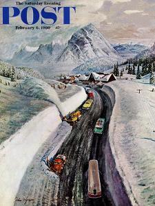 """""""Snowplows at Snoqualmie Pass,"""" Saturday Evening Post Cover, February 6, 1960 by John Clymer"""