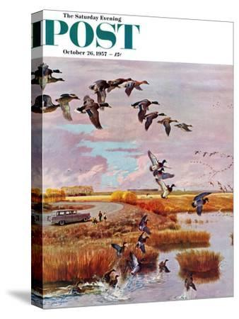 """""""South for the Winter"""" Saturday Evening Post Cover, October 26, 1957"""