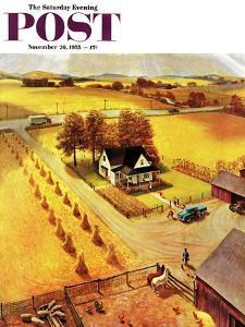 """""""Thanksgiving on the Farm"""" Saturday Evening Post Cover, November 26, 1955 by John Clymer"""