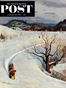 """""""Tobogganing"""" Saturday Evening Post Cover, January 22, 1955 by John Clymer"""