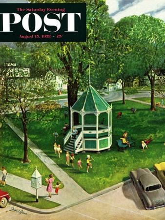 """""""Town Green"""" Saturday Evening Post Cover, August 15, 1953"""