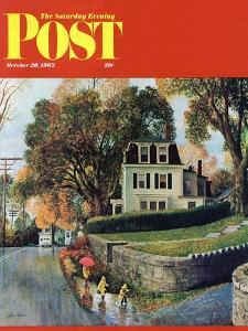 """""""Walking Home in the Rain,"""" Saturday Evening Post Cover, October 20, 1962 by John Clymer"""