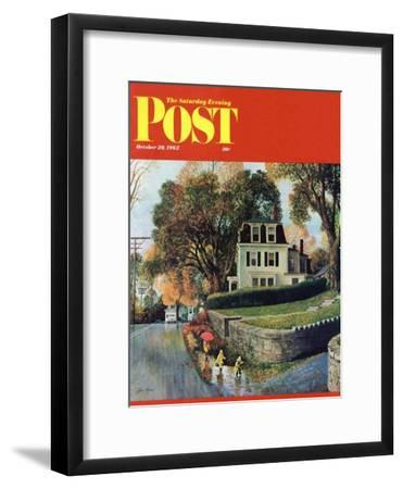 """""""Walking Home in the Rain,"""" Saturday Evening Post Cover, October 20, 1962"""