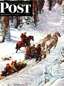 """Winter Sleigh Ride,"" Saturday Evening Post Cover, December 17, 1949 by John Clymer"