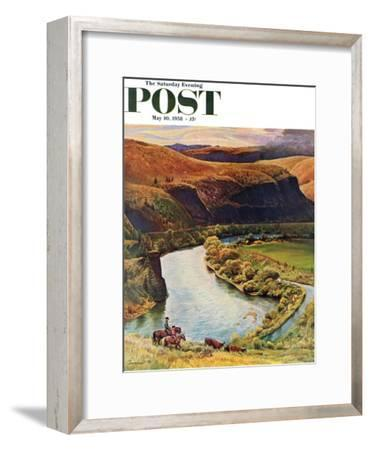 """""""Yakima River Cattle Roundup"""" Saturday Evening Post Cover, May 10, 1958"""