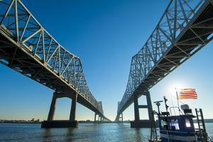 Louisiana, New Orleans, Twin Cantilever Bridges, Mississippi River, Tugboat by John Coletti