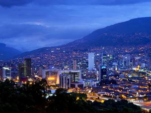 Medellin, Colombia, Elevated View of Downtown Medellin, Aburra Valley Surrounded by the Andes Mount by John Coletti