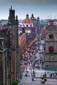 Mexico, Mexico City, Emiliano Zapata Street, Pedestrian Way, Dusk, Centro Historico, Red Dome of Ig by John Coletti
