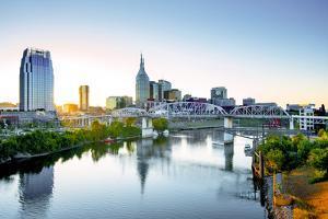 Nashville, Tennessee, Skyline, Cumberland River, John Seigenthaler Pedestrian Bridge, Previously Ca by John Coletti