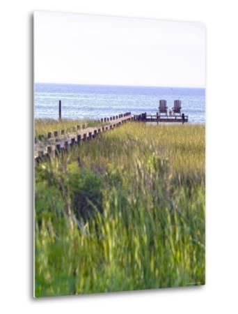 Wooden Pier and Chairs, Apalachicola Bay, Florida Panhandle, USA