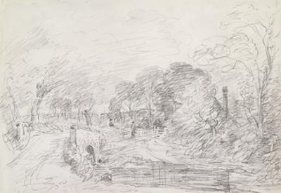 A Bridge Near Salisbury Court, C.1829 (Graphite on Paper) by John Constable