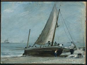 Brighton Beach with Fishing Boat and Crew, East Sussex by John Constable