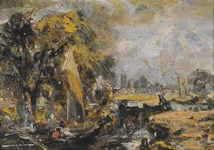 Dedham Lock, C.1819 (Oil on Paper Laid on Canvas) by John Constable