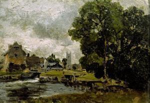 Sketch of Dedham Mill by John Constable